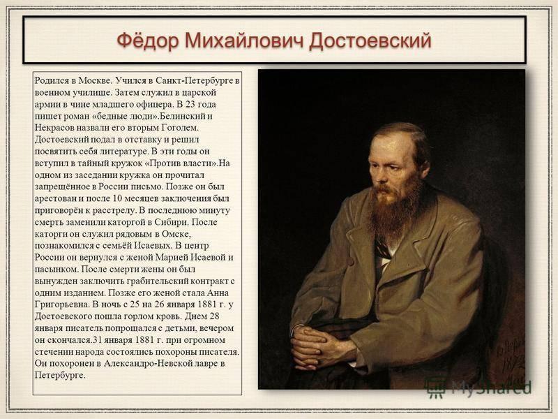 Характеристика личности федора достоевского, характер и его недостатки