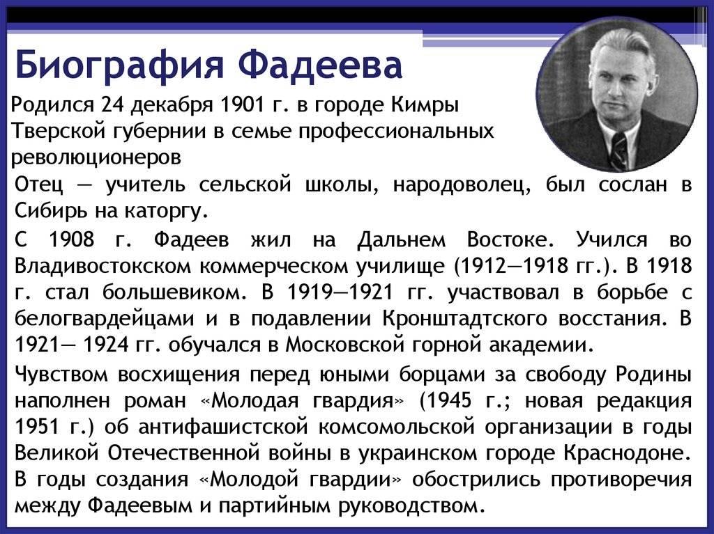 Александр фадеев – биография, фото, личная жизнь, книги, смерть - 24сми