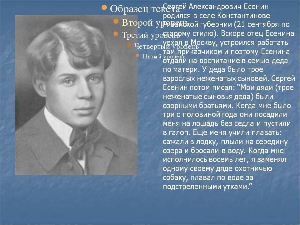 Сергей есенин: биография гениального поэтического хулигана русской литературы xx века