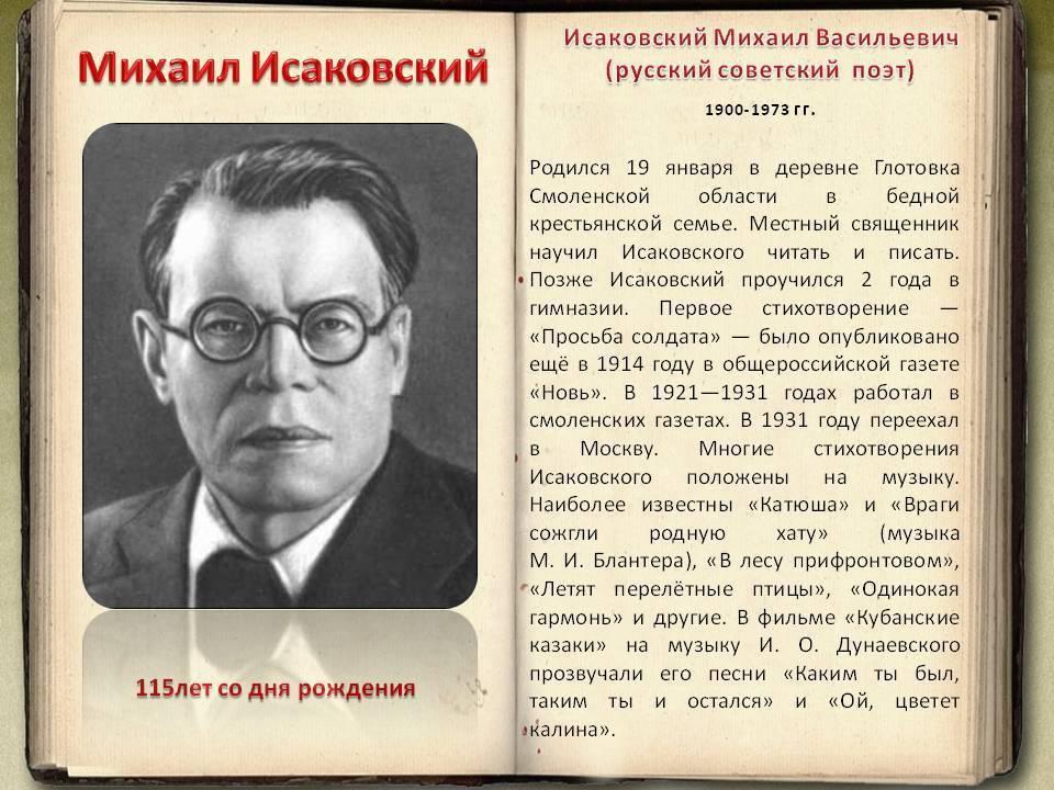50 интересных фактов о  михаиле исаковском — общенет
