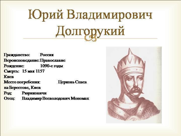 Юрий долгорукий — правитель руси. краткая биография