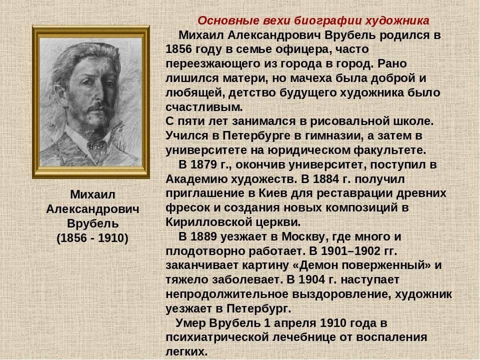 Биография. врубель михаил александрович