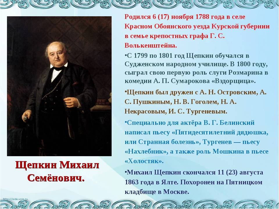 Щепкин михаил семёнович