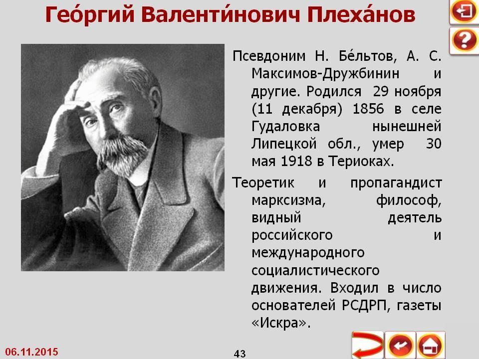 Плеханов георгий валентинович: краткая биография, семья, основные идеи