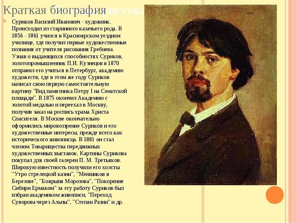 Классик русской исторической живописи василий суриков