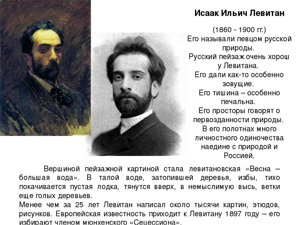 Исаак левитан краткая биография художника для детей самое главное