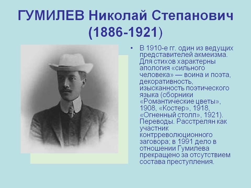 Гумилёв николай степанович, краткая биография