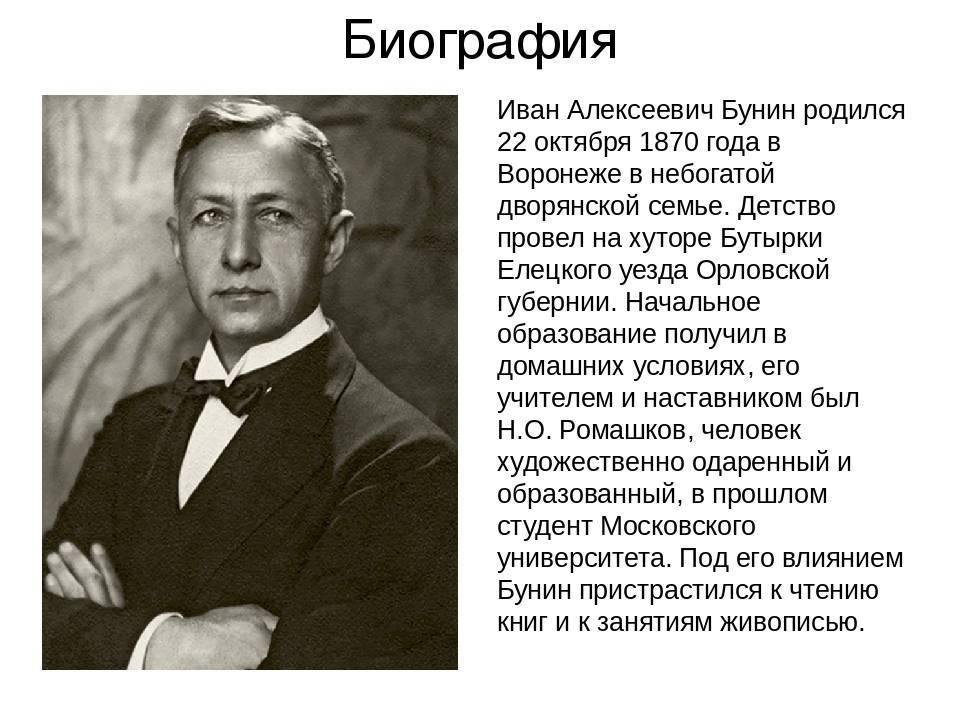 Краткая биография бунина самое главное и интересные факты жизни ивана алексеевича