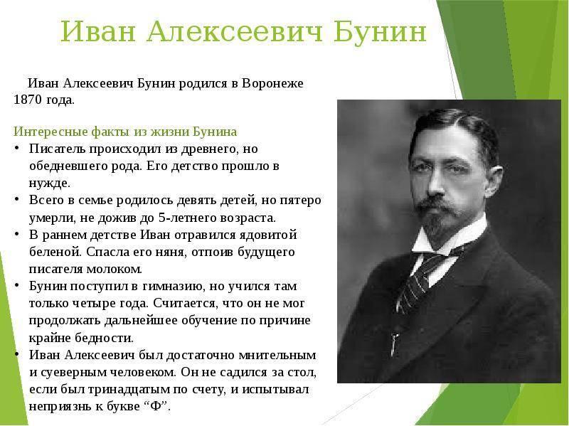 Бунин иван алексеевич биография