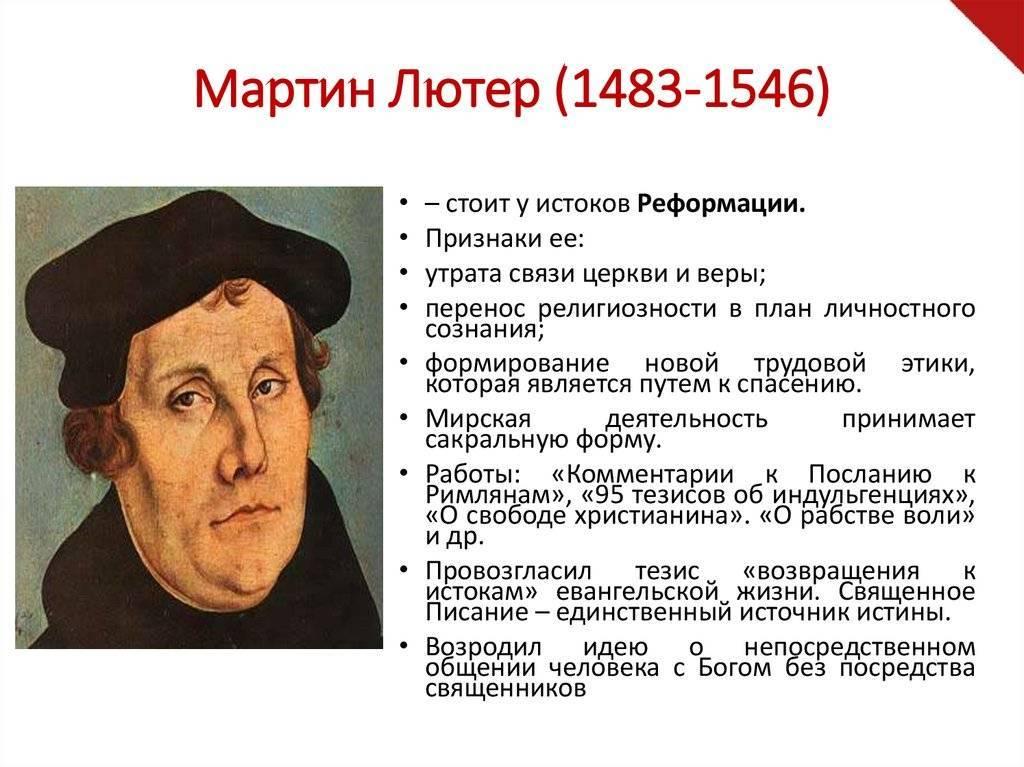Мартин лютер — краткая биография   краткие биографии