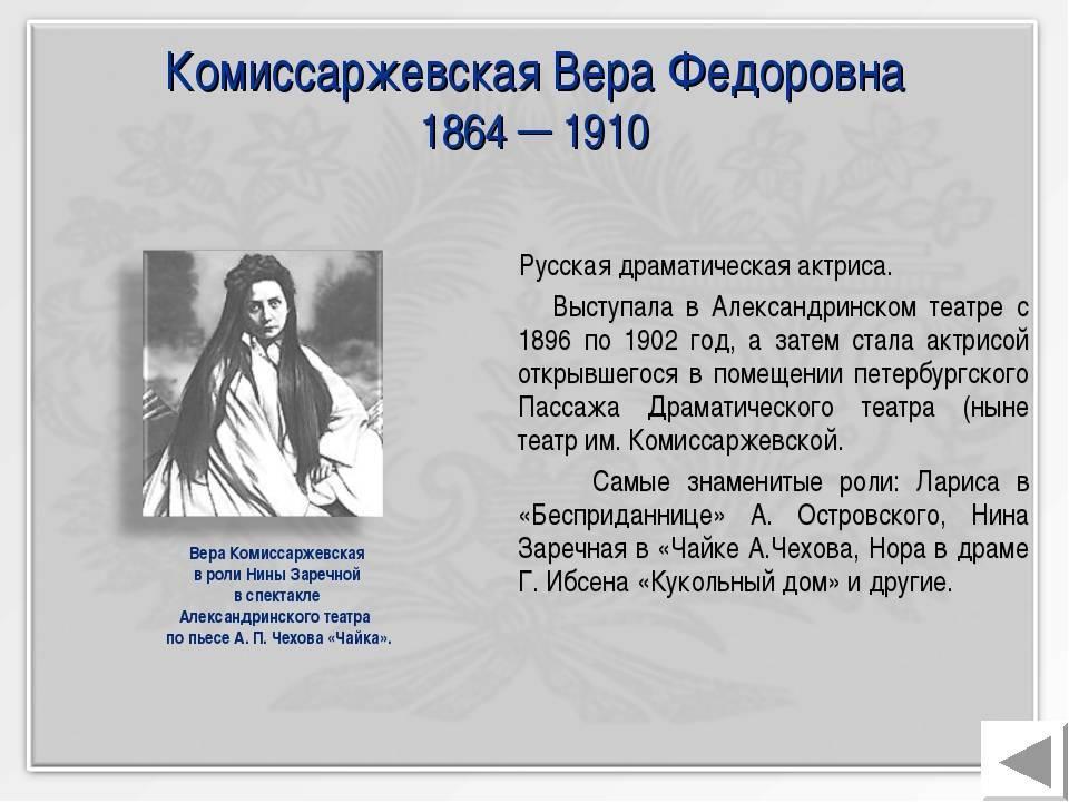 Комиссаржевская, вера фёдоровна