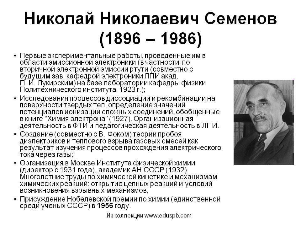 Семенов николай николаевич - известные ученые