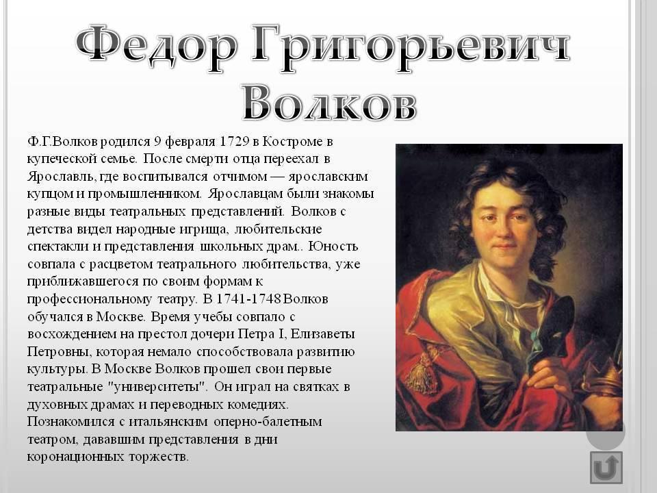 Волков федор григорьевич: краткая биография
