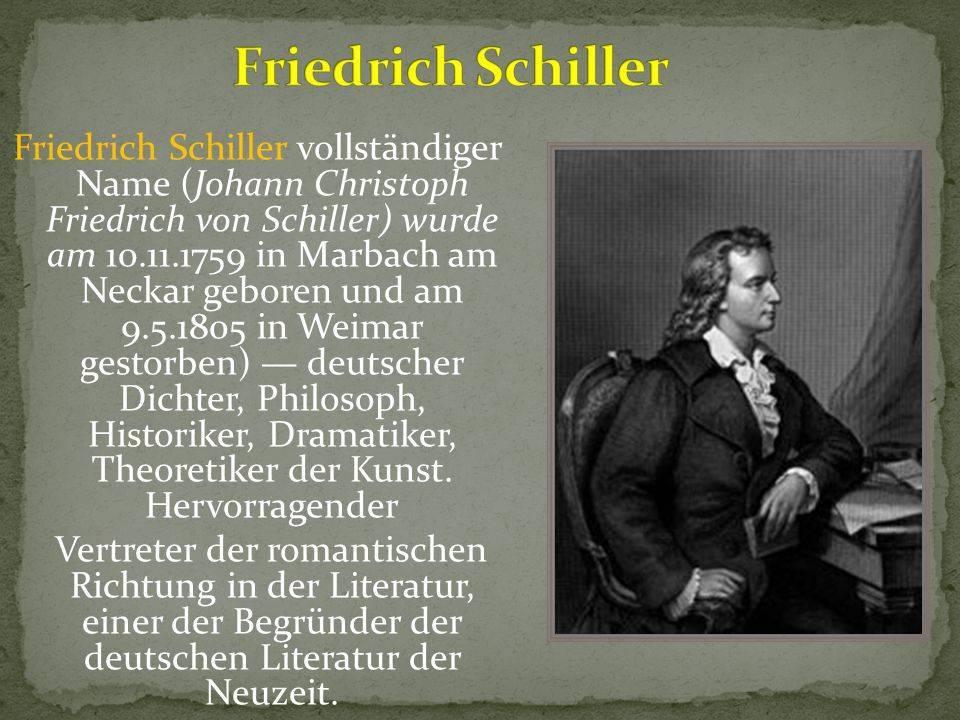 Фридрих шиллер - биография, факты, фото