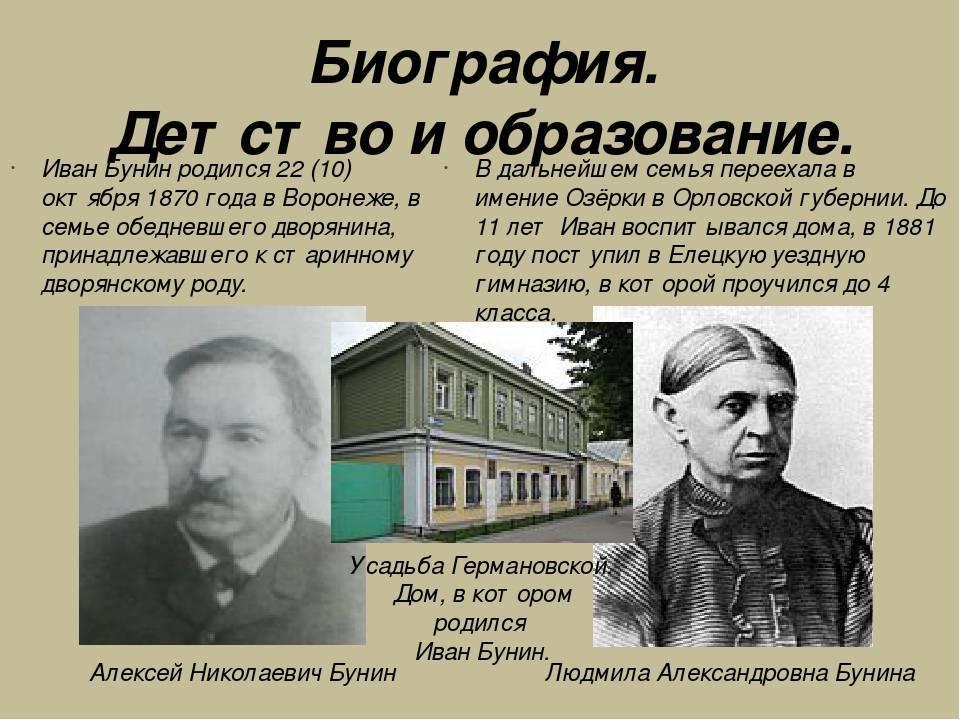 Интересные факты из жизни ивана алексеевича бунина: творчество, основные моменты биографии