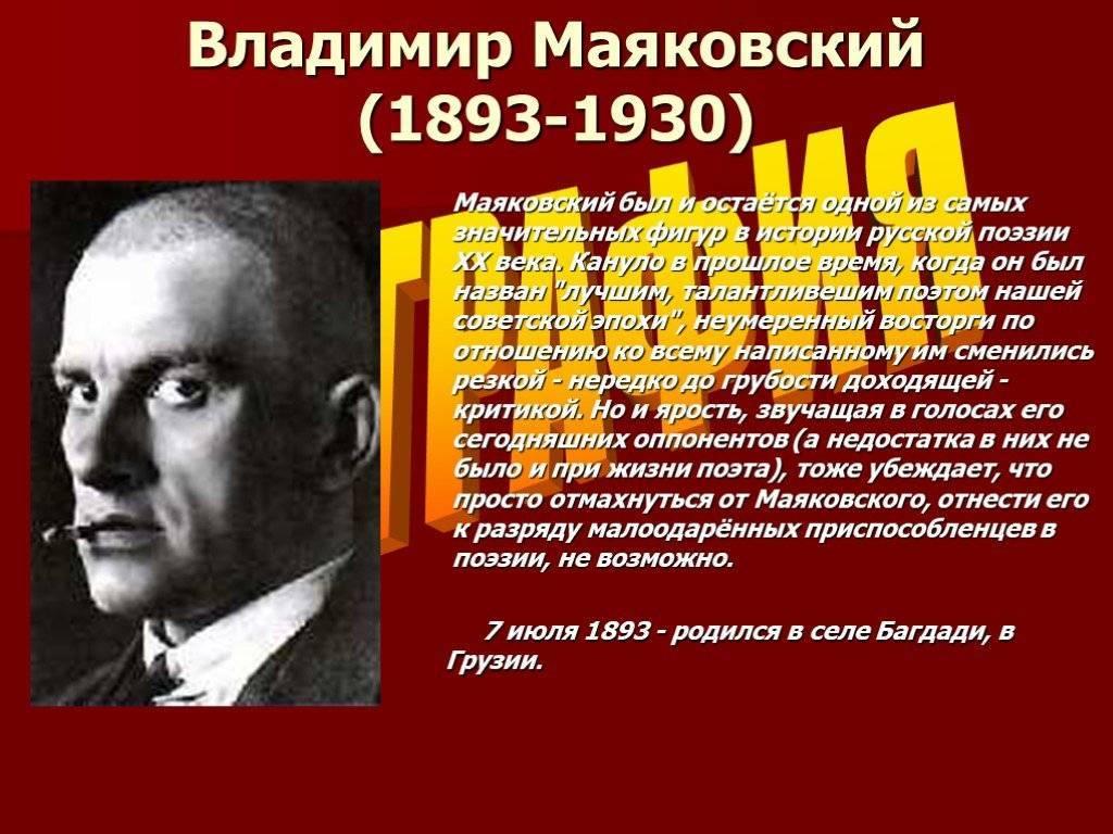 Биографиявладимира владимировича маяковского