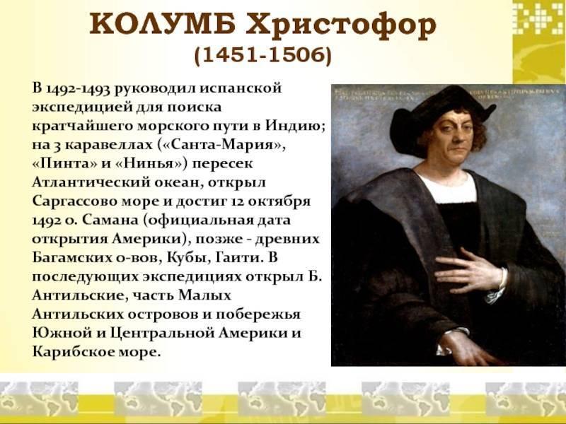 Христофор колумб (краткая биография и открытия)