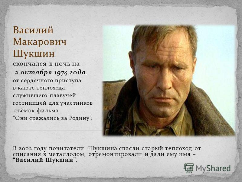Биография василия макаровича шукшина. доклад. история. 2010-11-16