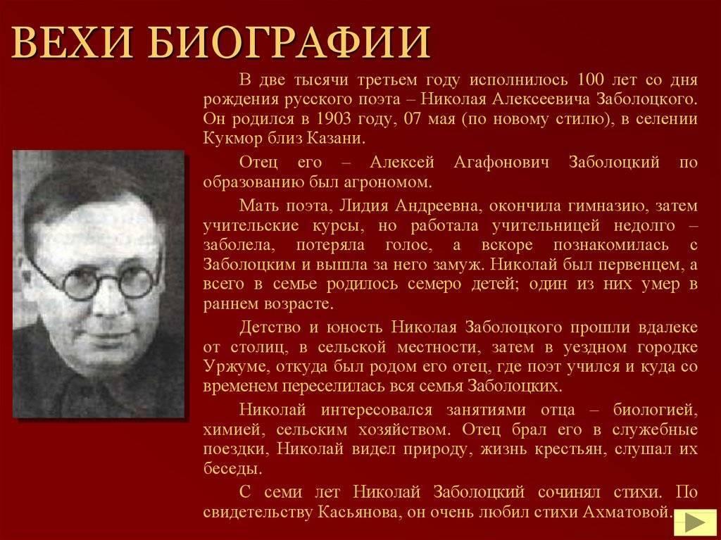 Николай заболоцкий - фото, стихи, биография, причина смерти - 24сми