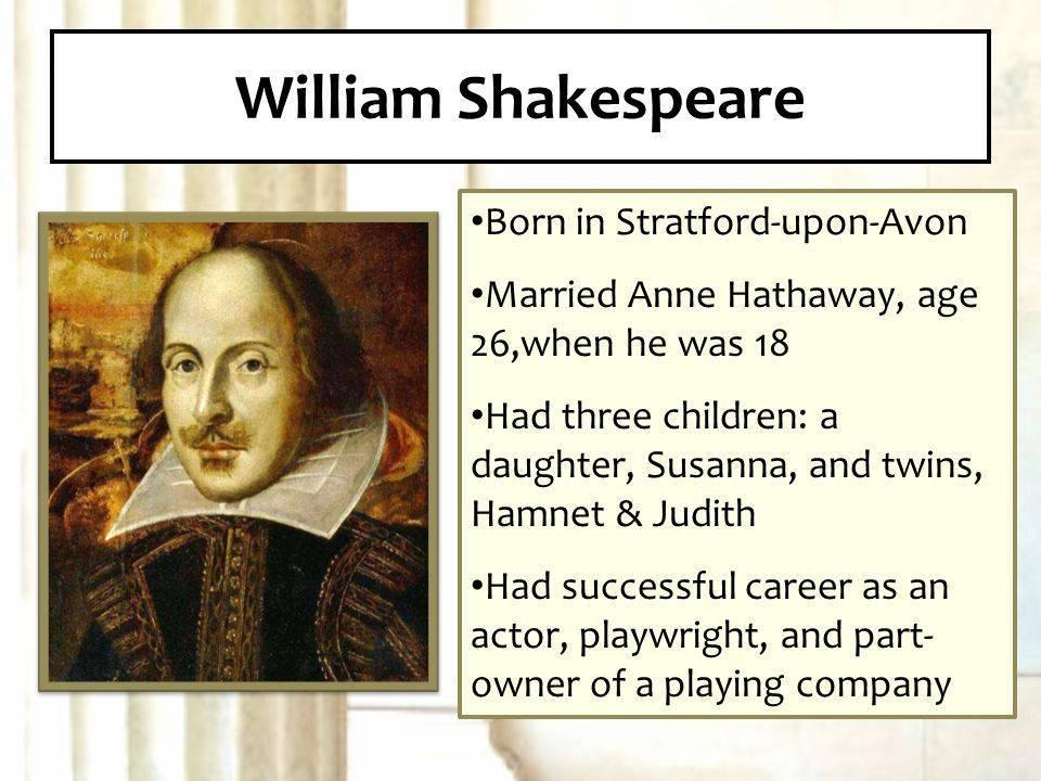 Доклад уильям шекспир 7, 8 класс кратко сообщение