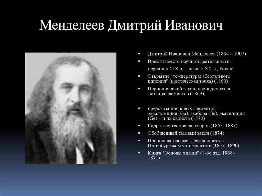 Краткая биография менделеева дмитрия ивановича | краткие биографии