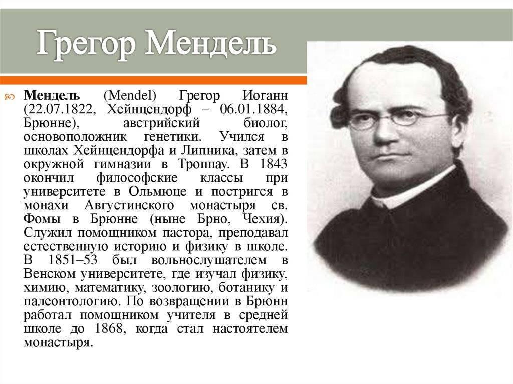 Грегор мендель – отец современной генетики