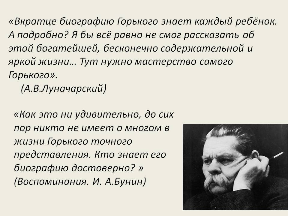 Интересные факты о м. горьком