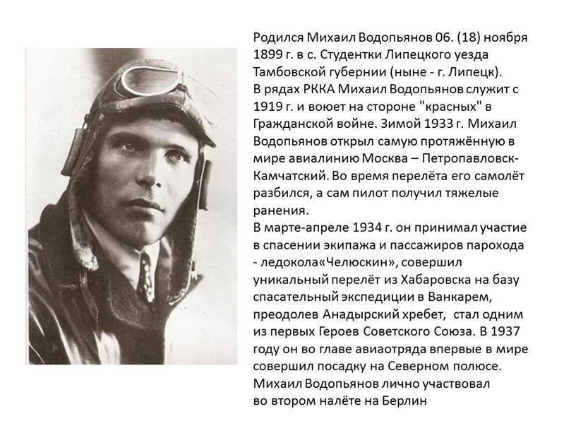Водопьянов, михаил васильевич, награды, память, литература
