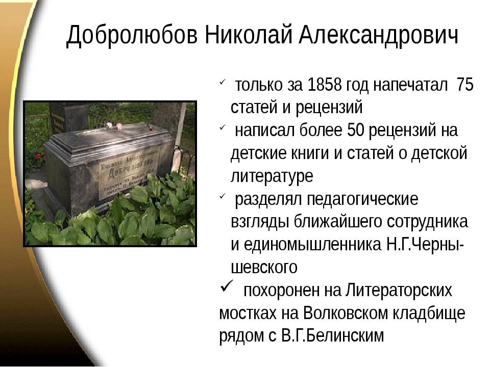 Биография и творчество добролюбова николая александровича кратко