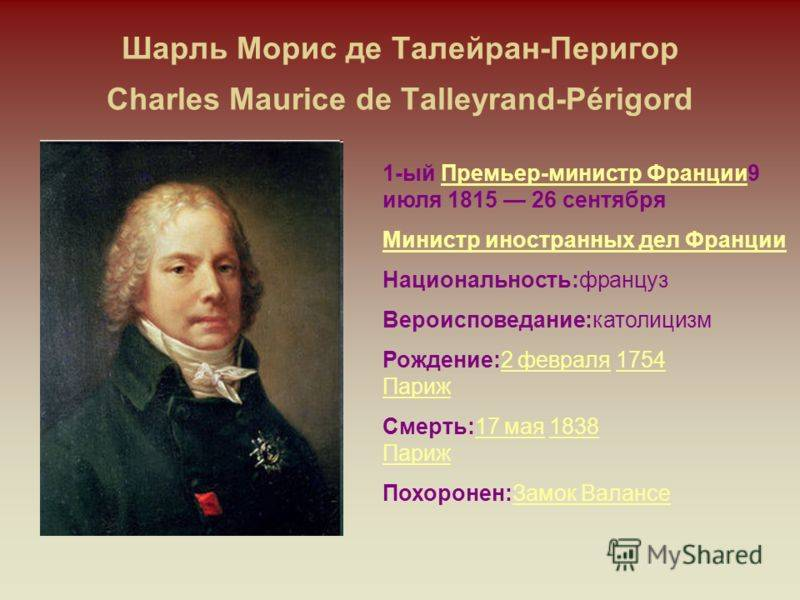 Талейран-Перигор, Шарль Морис