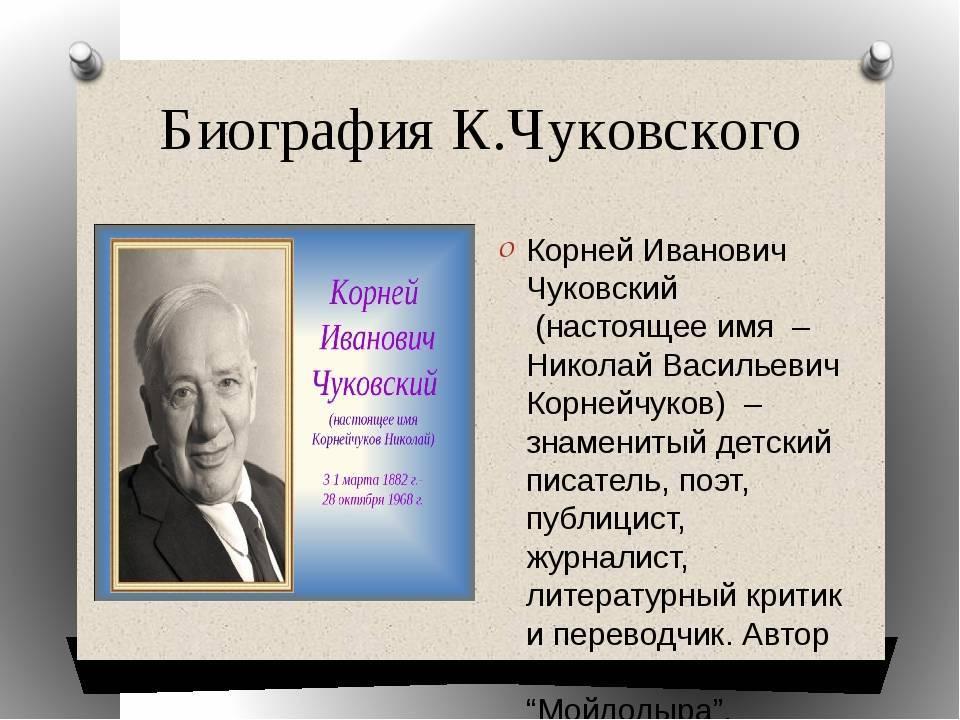 Биография корнея чуковского для детей 2 класса начальной школы