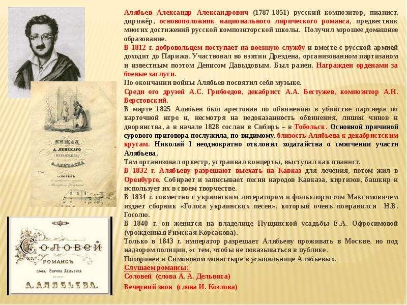 Александр александрович алябьев композитор биография кратко