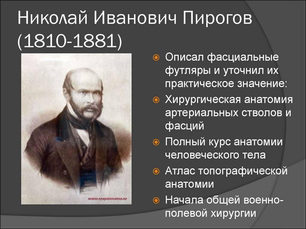 Биография врача пирогова николая ивановича