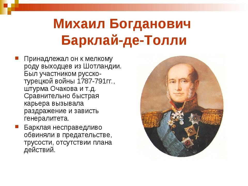 Барклай де толли михаил богданович (краткая биография)