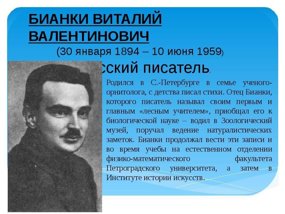 Биография виталия бианки для детей (2, 3, 4 класс)