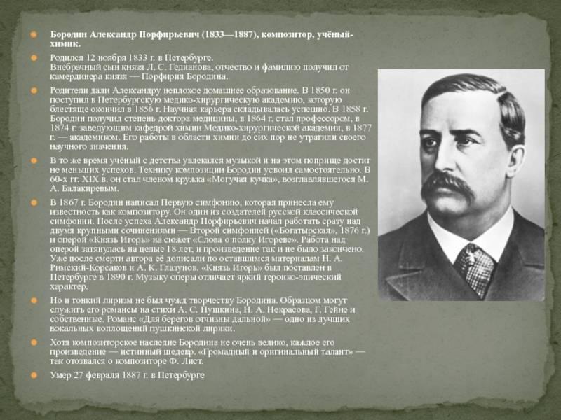 Александр бородин: кратко биография композитора - nacion.ru