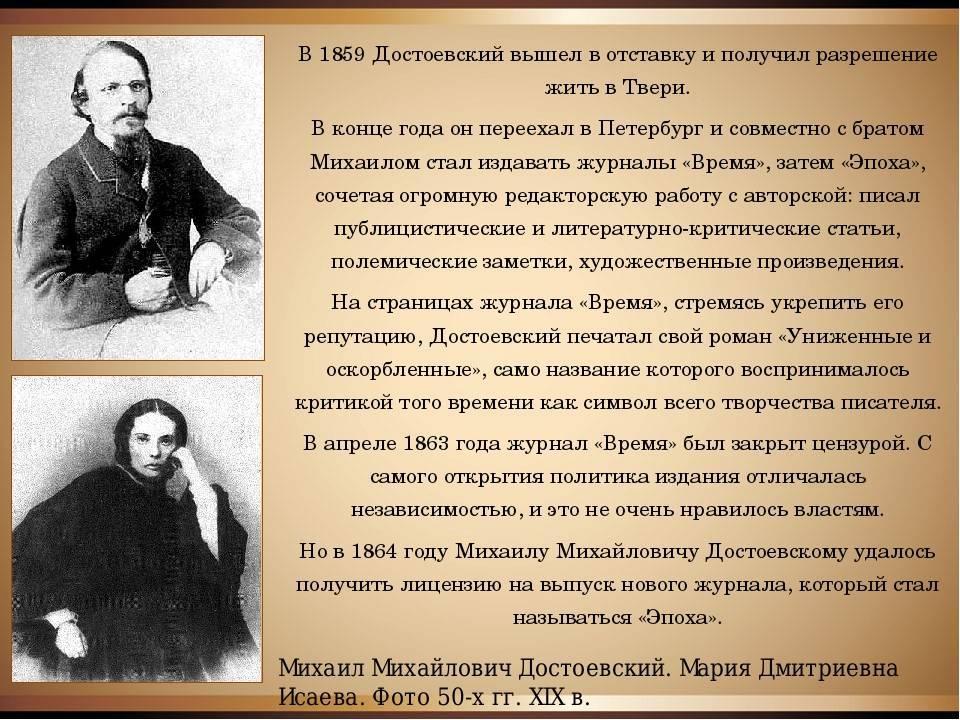 Биография достоевского — кратко о самом главном