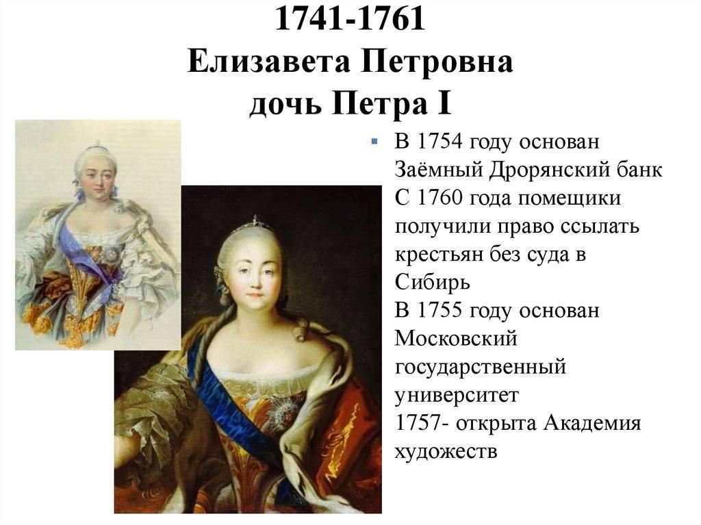 Елизавета петровна (кратко)