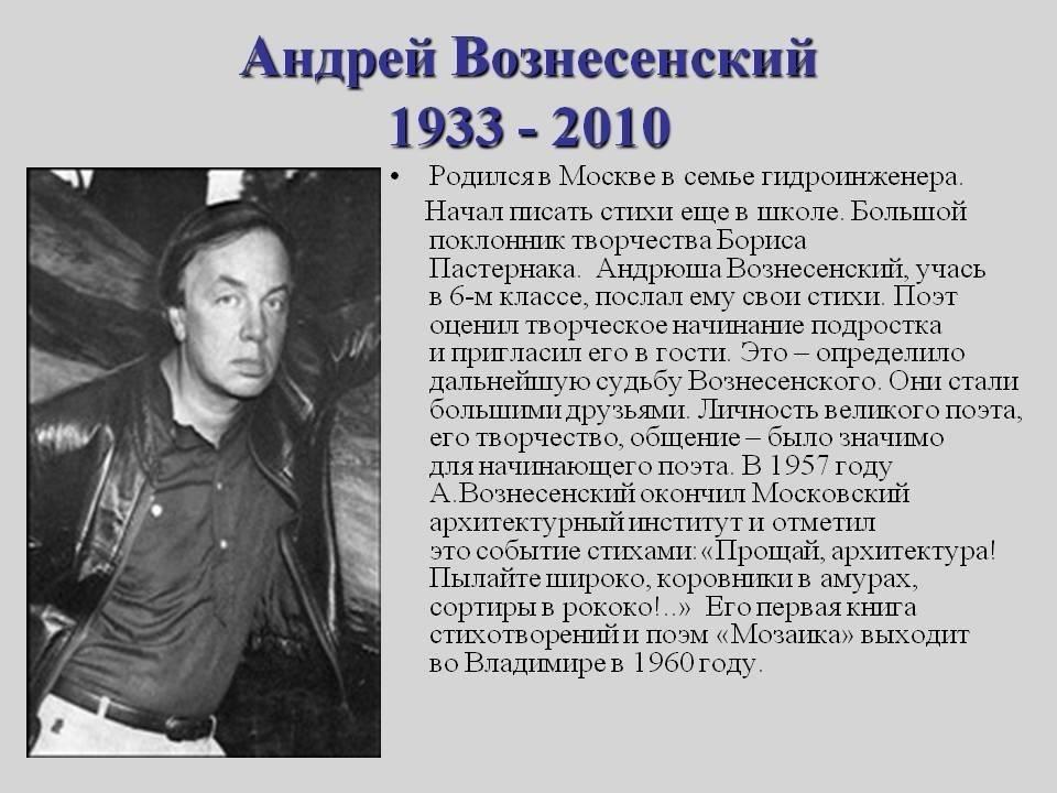 Биография Андрея Вознесенского