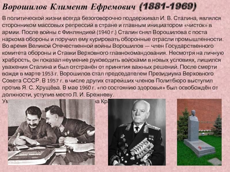 Климент ефремович ворошилов — биография политика   краткие биографии