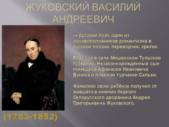 Биографиявасилия андреевича жуковского