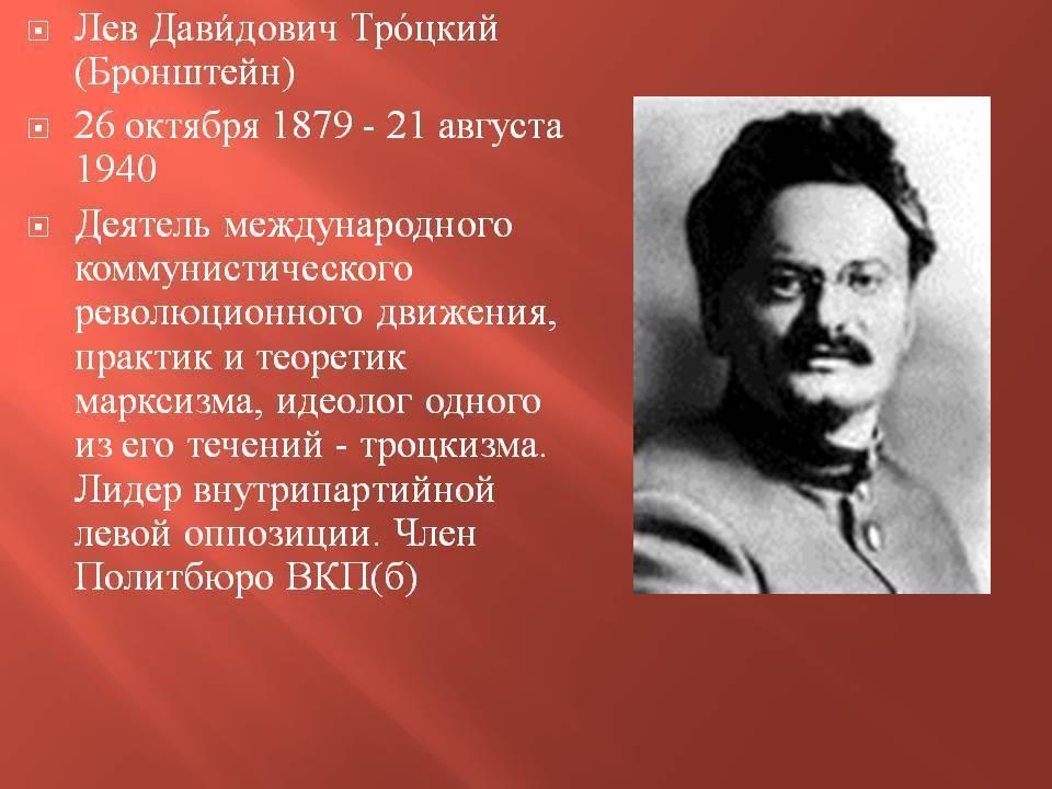Лев троцкий — краткая биография | краткие биографии