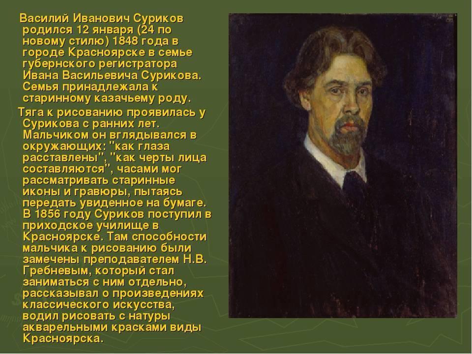 Биография сурикова кратко, картины художника василия ивановича для детей