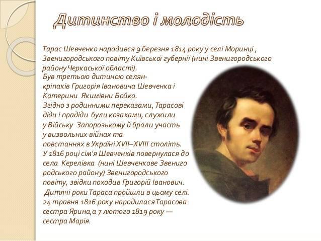 Биография Тараса Шевченко