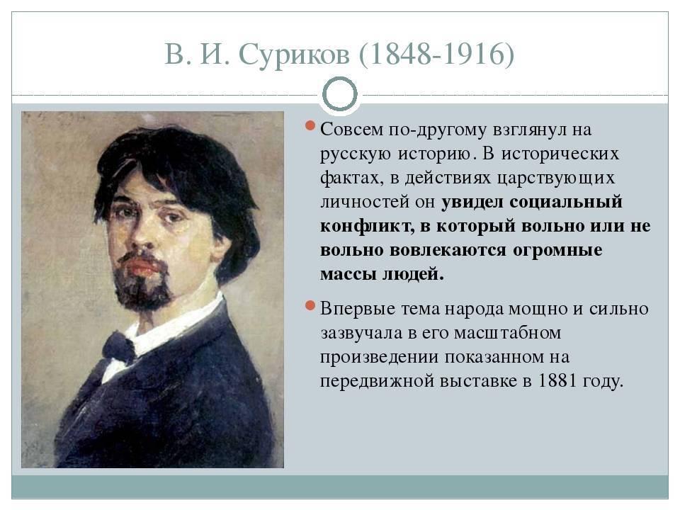 Суриков василий иванович: художник, биография, картины