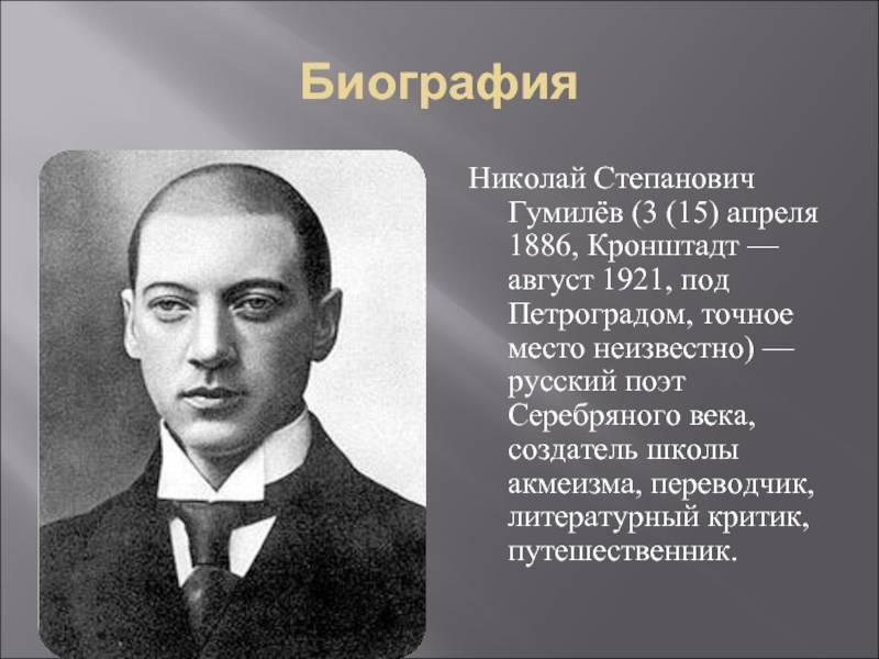 Николай гумилев: краткая биография, личная жизнь