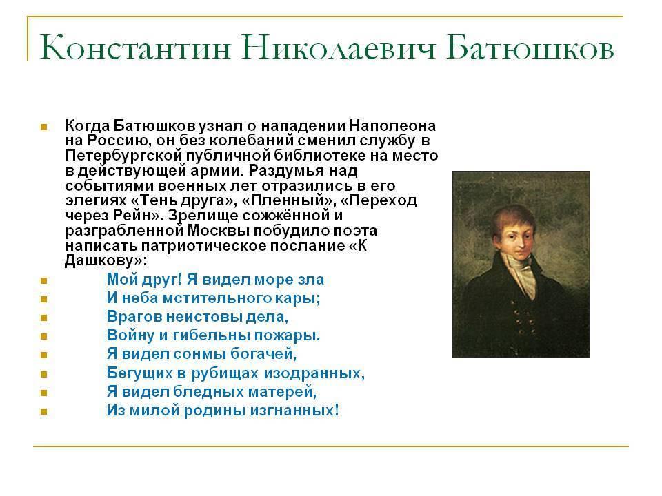 Биография батюшкова