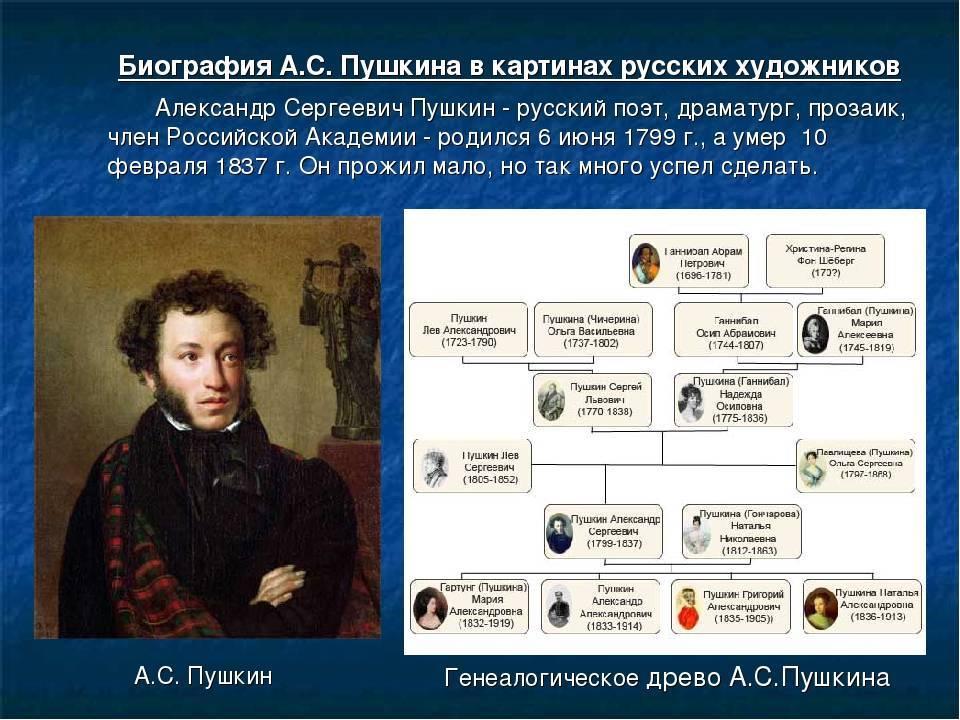 Краткая биография пушкина, интересные для детей факты творчества александра сергеевича, всем классам